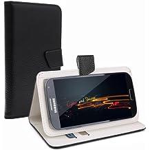 """Negro Cuero Funda Carcasa Case Universal con Soporte Cierre Magnetico para Moviles de 4,5"""" 4,6"""" 4,7"""" 4,8"""" 4,9"""" 5,0"""" pulgadas para SWEES 5"""" Smartphone, Doogee Voyager2 DG310 5"""", Star Note 3 N8000 5.5"""", 5"""" THL T6S MTK6582M, 5.0"""" FWVGA, Haipai S5 5.0"""", Doogee DG330 MTK6582, Cubot S208 S308, Cubot S168 S200 X6, Cubot P7/P10/Bobby 5.0"""", LANDVO L200 L200G, Lenovo S860, 5"""" Doogee Turbo DG2014, ARCHOS 50 NEON / Titanium / Helium"""