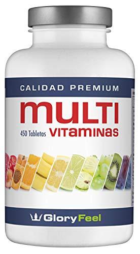 Multivitaminas 450 Pastillas Veganas - Vitaminas y Minerales - Complejo Multivitaminico para Hombres y Mujeres - Multivitaminico de GloryFeel