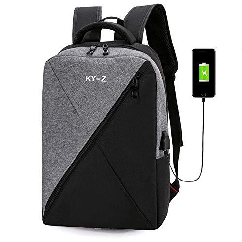 BBX Mochila de Viaje portátil de Negocios Casual al Aire Libre Daypack con Puerto de Carga USB, Multifuncional Desgaste Resistencia Impermeable Escuela Rucksack Encaja 15,6 Pulgadas portátil,Gray