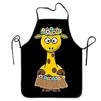 GDESFR Apron with pock,Giraffe Hawaii Women Men Kitchen Bib Apron Flower Shop Chef with Adjustable Neck Chef