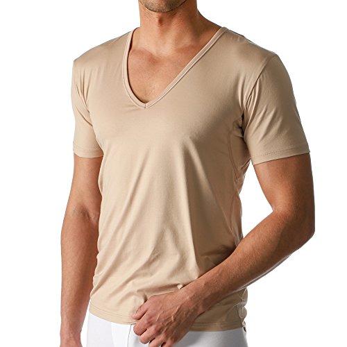 2er Pack Mey Herren Business Unterhemd - Größe 5 - Skin - Drunterhemd - Unterhemd mit V-Ausschnitt - Shirt mit Einsätzen unter den Achseln - 46038 Dry Cotton Functional