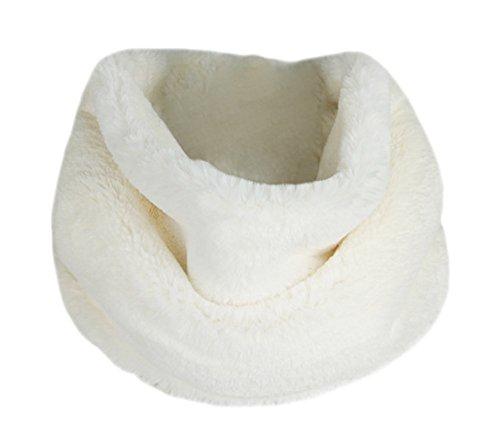 Deley autunno invernali donna ladies morbido caldo elegante cappotto wrap sciarpa di pelliccia finta collo avvolgere foulard scarf bianco