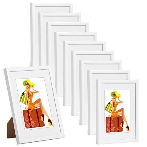 men Bildergalerie Fotogalerie mit Passepartout, Foto Collage Galerie, Kunststoff und Echtglas, New Life Style, Weiss, 10x15 cm, 10er Set ()