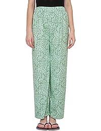 Fflirtygo Night Wear for Women Pyjama, Night Dress, Lounge Wear, Green Color Printed Pyjama,–Soft Cotton Night Wear