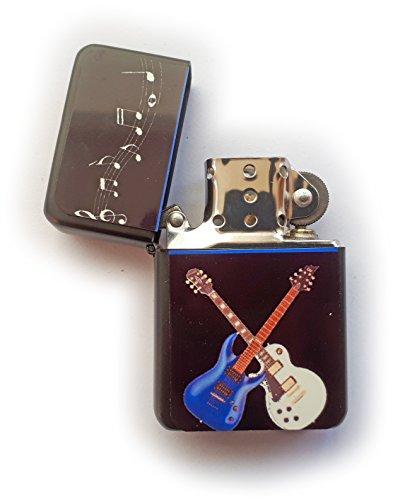 Stoneys Badges Crossed Guitars - Mechero de gasolina en bolsa impresa