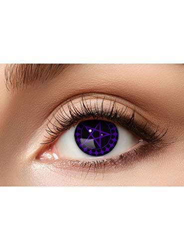 Maskworld Anime Pentagramm Kontaktlinsen / Monatslinsen Black Butler - Motivlinsen ohne Sehstärke - Unisex - Erwachsene - ideal für Halloween, Karneval, Motto-Party & Cosplay