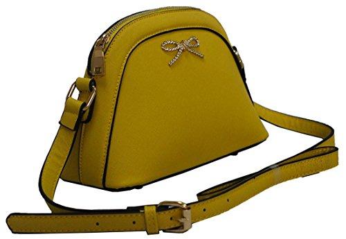 Kukubird Saffi Aus Kunstleder Mit Metall Gebunden Bogen Detail Ranzen Schulter Tote Sling Handtasche Yellow