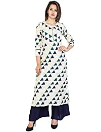 SVK Etail Cotton Straight Printed Round Neck Blue Women's With Palazzo Set (Pack Of 2)