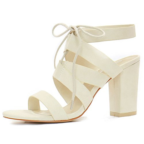9 B(M) US, Ivory : Allegra K Women's Chunky High Heels Cutout Detail Lace up Sandals