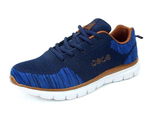 Herren Turnschuhe Flyknit Atmungsaktiv Mode Leicht Lace Up Jogger Sport überstreifen Schuhe Blau