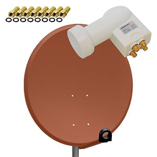 PremiumX Sat Anlage PXA80 80cm Spiegel Schüssel Antenne aus Aluminium in Ziegelrot + PremiumX LNB Quad 0,1db PXQS-04 WE mit vergoldeten Anschlüssen Digital HDTV Full HD 3D tauglich + 8x F-Stecker 7mm golfarbig
