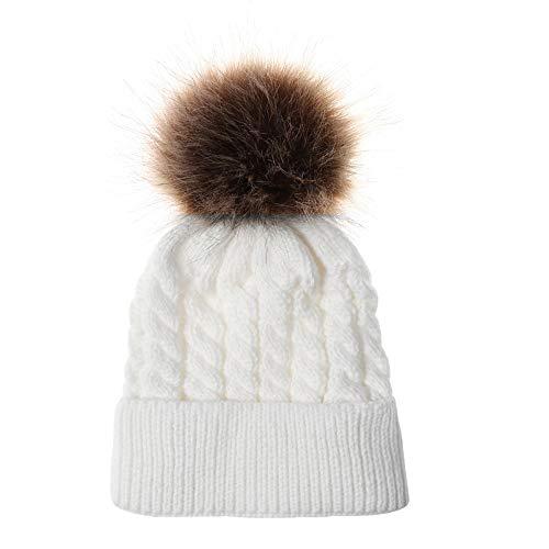 Bovake-Hat Baby Strickmütze, für Neugeborene, Kleinkinder, Jungen, Mädchen, Baumwolle, warme Mütze, weiß