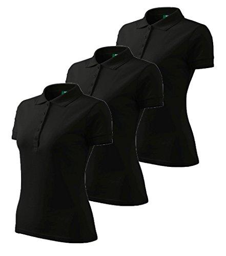 3er Pack Dress-O-Mat Damen Poloshirt T-Shirt Polohemd Tailliert Gr M schwarz
