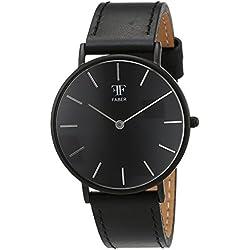 Faber Time Unisex Quartz Watch with Black Dial Analogue Display Quartz Leather F501BK