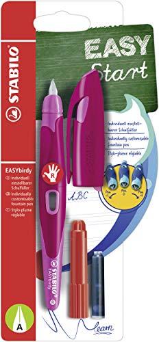 Ergonomischer Schulfüller für Rechtshänder mit Anfänger-Feder A - STABILO EASYbirdy in beere/pink - inklusive Patrone und Einstellwerkzeug