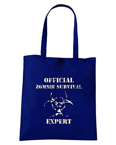 T-Shirtshock - Borsa Shopping TZOM0028 zombie survival expert Blu Navy