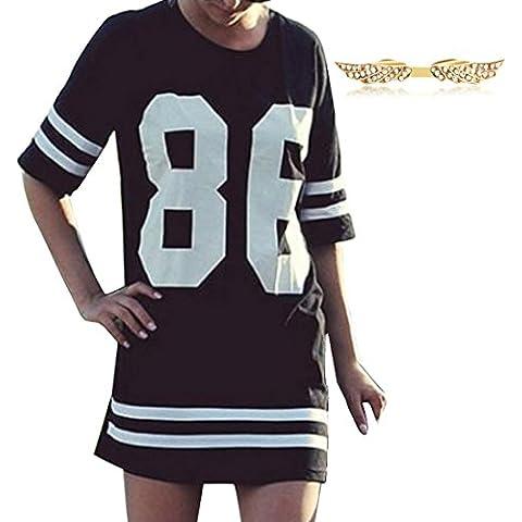 BYD Mujeres Vestidos de Manga 1/2 Casual Letras 86 Impresión Rayas Mini Vestido Túnica para Primavera Verano