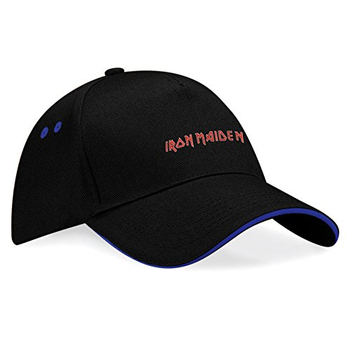 THE IRON MAIDEN Musik Rock Rockmusik Bestickte Logo Mütze Baseball Cap - k141 (Sw-Blau)