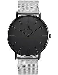 Alienwork Quarz Armbanduhr elegant Quarzuhr Uhr Zeitloses Design klassisch modisch Metall schwarz silber 98469G-G-04