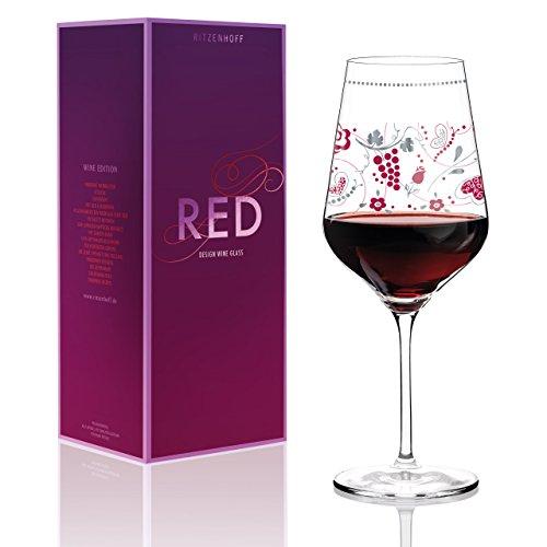 RITZENHOFF Red Rotweinglas von Sandra Brandhofer, aus Kristallglas, 580 ml, mit edlen Platinanteilen