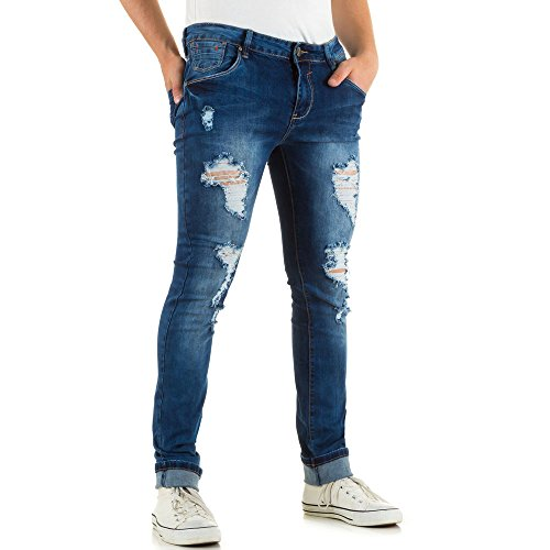 Herren Jeans, DESTROYED STRETCH SKINNY JEANS, KL-H-GT5506 Blau