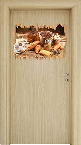 Aromatischer Kaffee mit Croissant Pinsel Effekt Holzdurchbruch im 3D-Look , Wand- oder Türaufkleber Format: 62x42cm, Wandsticker, Wandtattoo, Wanddekoration -
