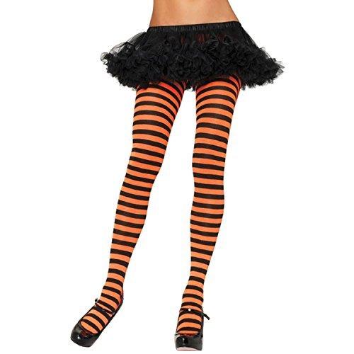 Sexy Spaß schwarz orange Streifen Strumpfhose Strümpfe Halloween Kostüm Schule Nerd Geek Hexe Pumpkin Jack O Laterne - schwarz/lila, One Size