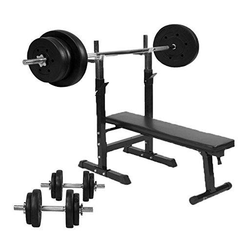 Gorilla Sports Hantelbank mit Hantelset und 70kg Kunststoff, 10000420