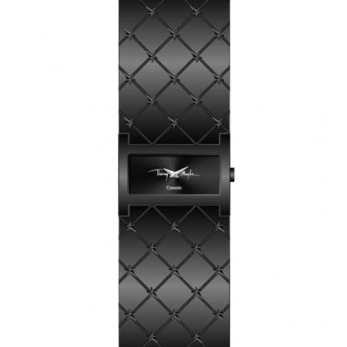 Thierry Mugler 4702702 - Reloj analógico de cuarzo para mujer con correa de piel, color negro