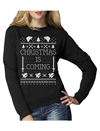 Christmas is Coming - Weihnachtspullover Damen für GOT Fans Frauen Sweatshirt Medium Schwarz