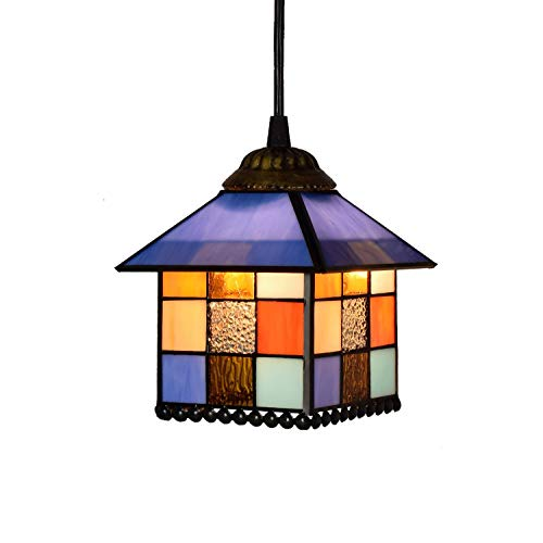 Casa Tiffany Style Chandelier Piccola Casa Lampada creativa Stained Glass Chandelier da 8 pollici