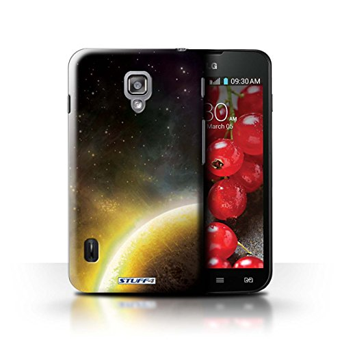 Kobalt® Imprimé Etui / Coque pour LG Optimus L7 II Dual / Nébuleuse Pourpre conception / Série Cosmos Planète Jaune