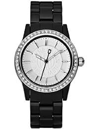 DKNY NY8012 - Reloj analógico de cuarzo para mujer, correa de plástico color negro