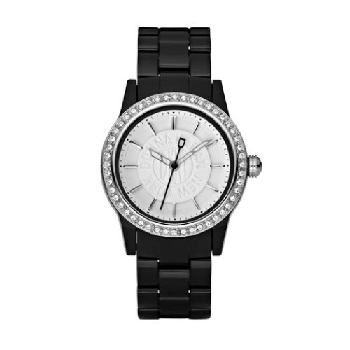 DKNY Ladies Watch NY8012 with White Dial and Black Plastic Strap