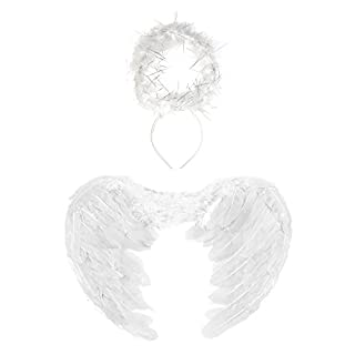 43cm White Angel Feather Wings & Halo Set