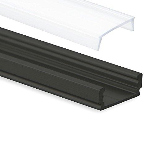 Aluminium Profil Schwarz PL1 Anser 2m plus Abdeckung Opal für LED Streifen