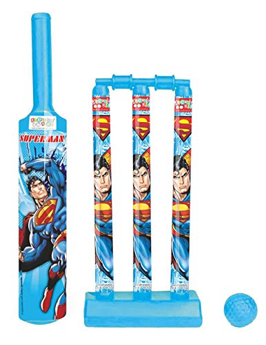 Kidscart official Cricket Set with 1 Plastic Bat and Ball, 3 Wickets, Base and Bail, Best Gift for Your Kids (Multicolour).