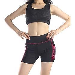 Mayas de deporte de la marca Munvot®, para mujer. Cintura alta, largos, ideales para yoga, gimnasio o entrenamiento de fitness Schwarze Rose( Kurze Hose) XL
