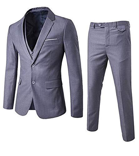 Allthemen Herren 3-Teilig Slim Fit Anzug Zwei Knöpfe Business Sakko Hellgrau Large