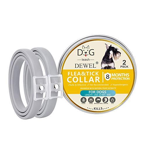 OOLOOYOO 2er Pack Floh- und Zeckenhalsband für alle Hundearten - 8 Monate Vorbeugung gegen Floh- und Zeckenbefall