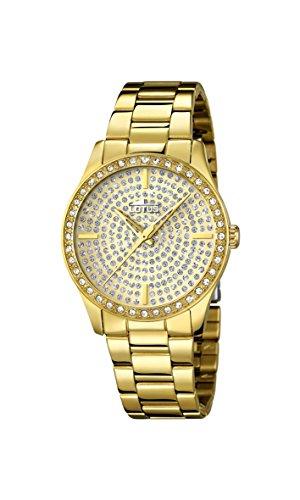 Lotus Reloj de cuarzo para mujer con oro esfera analógica pantalla y pulsera chapado en oro de acero inoxidable 18135/1