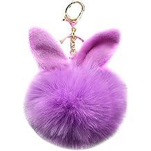 URSFUR 2PCS Faux Pelz Kugel Ball kunstpelz Bommel Schlüsselbund Kaninchen Ohr Tasche Anhänger Schlüsselanhänger