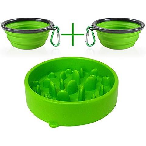 Motionjoy® 20cm Plastica Ciotola Animali Vassoio Evitare di mangiare troppo e Portatile Ciotola Pieghevole in Silicone per Cani Gatti - FDA Approvato (Verde, Piccolo)