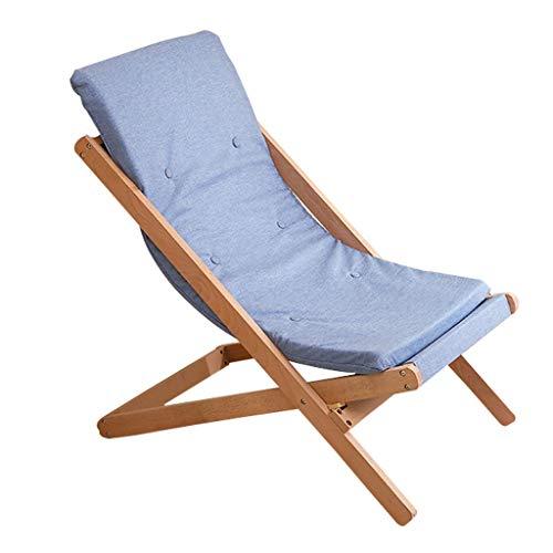 Wolaoma Chaise pliante en bois Chaise longue multifonctionnelle (Couleur : Bleu clair, taille : 65 * 89 * 78cm)