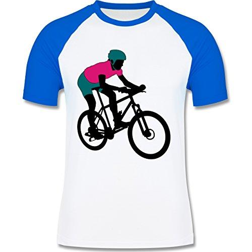 Radsport - Mountainbike MTB Geländefahrrad - zweifarbiges Baseballshirt für Männer Weiß/Royalblau