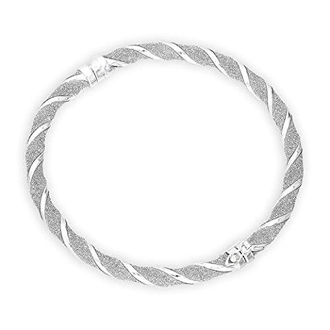 Bracelet Jonc Epais Givré Torsadé en Argent Massif 925/1000