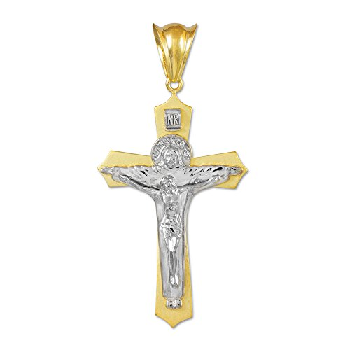 Donne Collana Pendente Two-Tone 14 Ct Bianco Oro Santo Trinità Crocifisso Midsize (Viene Fornito Con Una Catena Da 45cm)