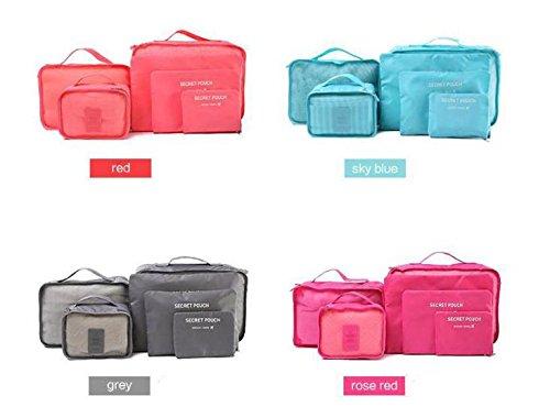 Reisen Verpackung Würfel Set von 6 Organizer-Taschen. (Navy Blau)
