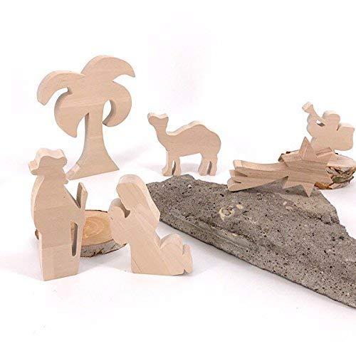 nd mit Jesus - handgefertigte Krippenfiguren aus Holz - Weihnachtsgeschenk, Nikolaus ()