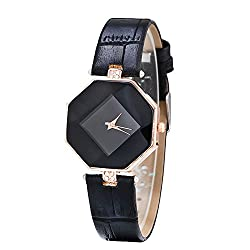 Contever® Women Fashion Rhombus Case Analog Quartz Watch with Rhinestone Decorative PU Leather Band Wrist Watch -- Black